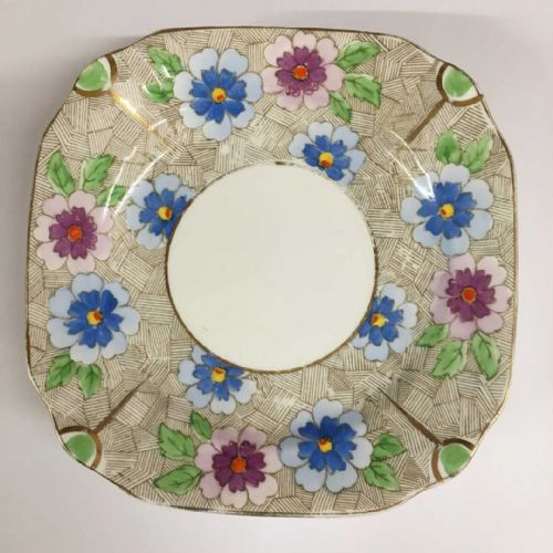 Phoenix  Bone China Square Floral Plate x 5 - 30s 40s